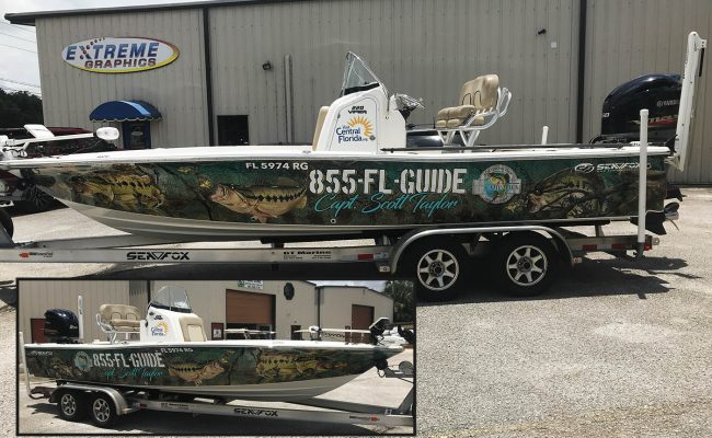 Custom boat wrap lettering graphics