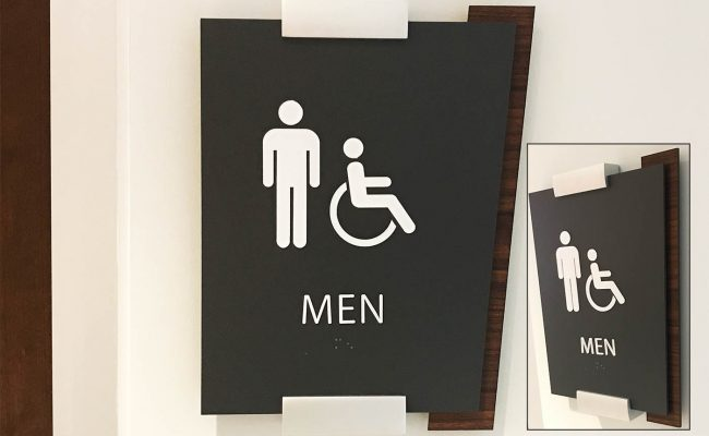 Custom restroom wayfinding sign 1